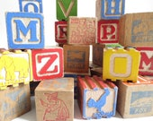 Vintage Building Blocks Wood Wooden Alphabet Animals Colorful People Pictures Objects Set of 34 Retro Old Toys Children's Room Decor Nursery