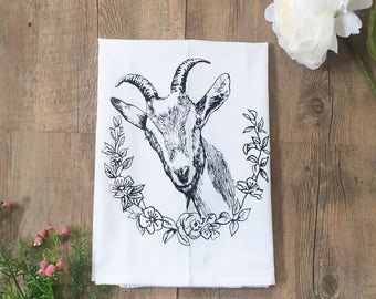Goat with Flowers Cotton Kitchen Towel - Hand Screen Printed