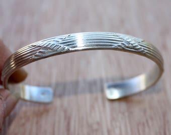 Sterling Silver Cuff Bracelet - Criss Cross Bracelet - Patterned Cuff Bracelet - Heavy Silver Cuff - Modern Silver Jewelry - Two Feathers