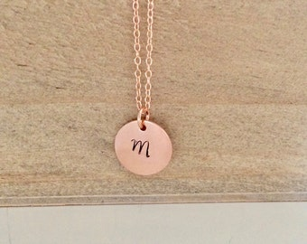 Rose Gold Necklace, Initial Jewelry Bridesmaid Gift Personalized Necklace Personalized Jewelry Coworker Gift Initial Necklace Best Friend