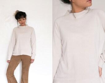 Vintage Cream Mock Neck Sweater / Long Sleeve Ivory White Mock Neck Shirt / Soft Cream Turtleneck Sweater / Oversized 90s Grunge Slouchy