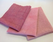 Soft Rose Pink, 3) Fat 1/8ths,  Hand Dyed Wool Fabric,  W275, Dusty Rose, Light Rose