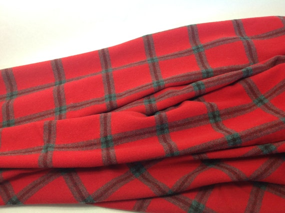 Big Red Plaid, Wool Fabric for Rug Hooking and Appliqué, Select 1 yard, 1/2 yard or 1/4 yard, W301, Christmas Red, Bright Red, True Red
