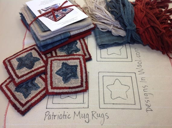 Rug Hooking KIT, Patriotic Star Mug Rugs, K113, DIY Patriotic Kit, Americana Coasters