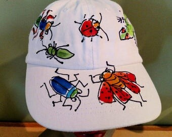 Lizard and Big Insects Baseball Cap Handpainted for Adults and Kids