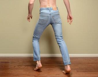 vintage 70s Levis 515 jeans distressed light wash straight cut orange tab 1970 vintage Levi's waist Talon 42 28 waist 28x31