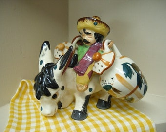 Vintage Salt and Pepper Shakers Mexican Senor and Donkey