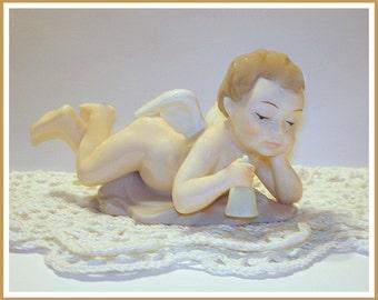 Cherub Figurine Reclining Boy Angel Holding Bell Ceramic Religious Figurine High Gloss Finish Cherub Angel Collector. REDUCED PRICE