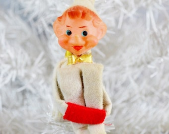 Vintage Knee Hugger Elf White Red Gold Small Pixie Felt Christmas Ornament 1960's
