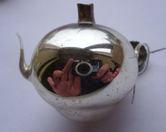 Little TEA POT 1960s Rare Soviet USSR Glass New Year Christmas tree ornament!