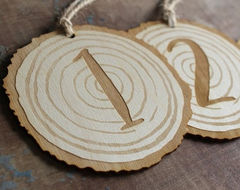Wood Slice Table Numbers Engraved Wood Wedding Table Numbers Rustic Wedding