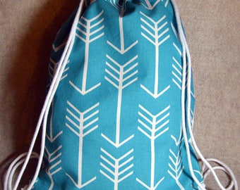 Turquoise Arrow Drawstring Backpack