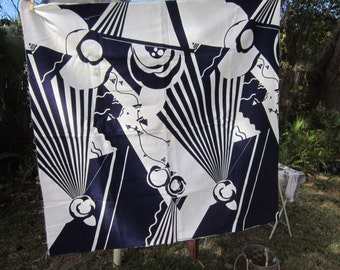 2 1/2 yards vintage heavy weight ribbed cotton fabric, yardage, sonic, navy/white