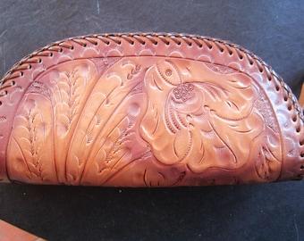 vtg tooled leather wrislet purse  wallets