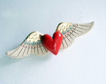 Fluttering Heart ceramic wall art