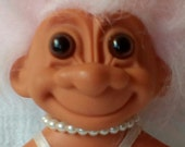 """Russ 5"""" Troll Doll with Green Tutu and Pearl Necklace.   Pink Hair Troll Doll.  Y-204"""