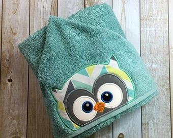 """Owl Boy Hooded Bath Towel 27"""" x 52"""""""