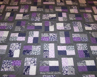 Baby Quilt, Modern Quilt, Phoebe's Flower Box, Baby Blanket, Girl Quilt, Purple, Gray, Grey, Quilts for Sale, Made to Order, BusyHandsQuilts