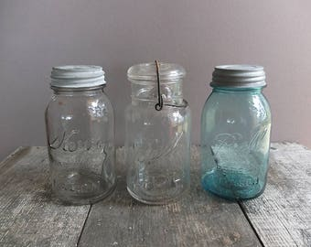 Vintage Quart-Size Mason Jar - 1 / Vintage Ball Jar with Zinc Lid / Vintage Mason Jar / Blue Ball Jar