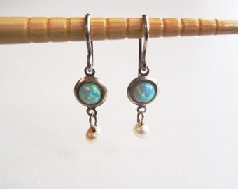 Vintage Sterling Silver, Opal and Pearl Earrings: Small Opal Cabochons & Pearls Bright Blue Green Colors w/ Red Highlights—Delicate Dangles