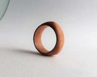 THREE SIDES - Hand Carved Wood Ring - Men Ring - Natural Unisex Jewelry  - Sculptural - Architectural Jewelry - Non-Allergic - Free Shipping