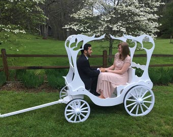 Full Size Cinderella Carriage with Canopy and Throne