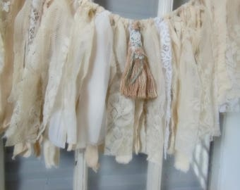 rag fabric banner, fabric garland, lace banner, shabby romantic bunting, door window swag, photo prop, shades of white