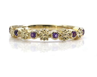 Gold Daisy and Amethyst Half Eternity Ring - 14k Gold Flower Wedding Band