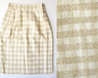 linen gold gingham pencil skirt - small / medium