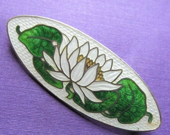 On Sale Art Nouveau Water Lily Cloisonne Brooch Antique Sterling Silver And Enamel Floral Pin By Watson Company