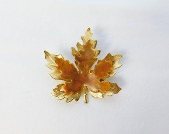 Vintage Goldtone and Enamel  Maple Leaf Shaped Pin or Brooch