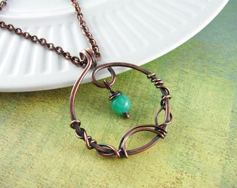Wire Wrapped Jewelry Copper Jewelry Wire Wrapped Pendant Copper Necklace Turquoise Necklace Wire Wrap Necklace Fairy Necklace