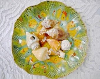 Organic Shape Plate, Ceramic Dish, Orange Yellow Green Plate, Rustic Modern Ceramics, Snack plate, jewelry dish, decorative plate, pottery