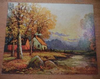 Vintage 1950s to 1960s Small Robert Wood Litho USA Autumn Sunset  102E House/Shed/Fence Retro No Frame