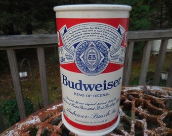Vintage Used 1970s to 1980s Plastic Beer Can Shaped Bank Budweiser Beer Large Collectible Barware
