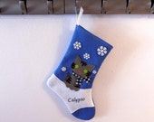 Gray Tiger Cat Kitten Personalized Christmas Stocking by Allenbrite Studio