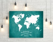 World Map Canvas Print, Adventure Awaits World Map Canvas Print, Giant World Map, Canvas Print, World Map Wall Art, World Map Canvas Print
