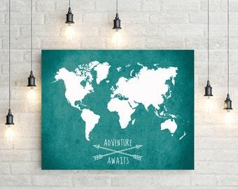 World Map Canvas Print, Adventure Awaits World Map Canvas Print, Giant World Map, Canvas Print, World Map Wall Art, World Map Canvas Print