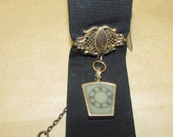 Victorian Watch Fob Pocket Watch Chain Black Ribbon Victorian Jewelry Men's Jewelry