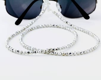 Silver Beaded Eyeglass Chain, Eyeglass Holder Necklace, Eye glass chain, Lanyard, Eyeglass Lanyard, Eyeglass Necklace, Reading Glasses