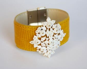Vintage Brooch Bracelet Cuff Yellow Gold White enamel Filigree Magnetic clasp Bangle OOAK up cycled assemblage repurposed Leather Strap