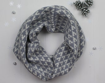 Knitted lambswool cowl / snood in grey colour geometric arrow design, knitted in the UK - 100% wool