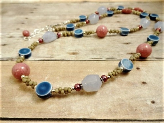 Blue Chalcedony Necklace, Pink and Blue Necklace, Stone Pearl and Ceramic Necklace, Rhodonite Jewelry, blue jean jewelry, everyday necklace