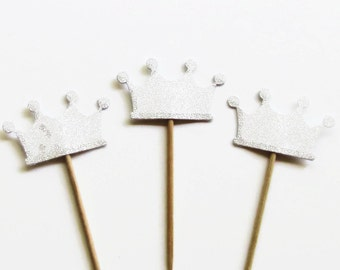 24 Silver Glitter Crown Cupcake Toppers Food Picks-Cupcake Toppers- Ready To Ship