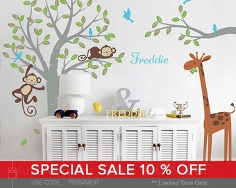Monkeys and giraffe Nursery Kids Wall Decal