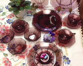 Amethyst Colored Moroccan Glass Dish Set 16 pcs~ 4 place settings 1960  Atlas Glass Co. MINT