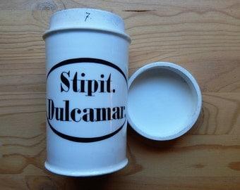 """Vintage German 6 inch Porcelain Apothecary Jar Canister """"Stipit. Dulcamar."""""""
