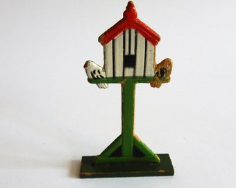 Antique Vintage Erzgebirge Wooden Bird House Hand Painted Toy Christmas Putz Figure