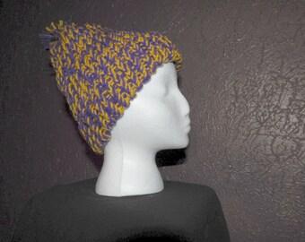 Purple/Gold Knit Hat