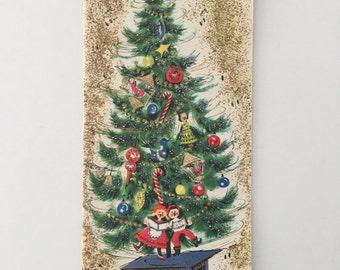 Unused Glitter Christmas Card, Mid Century, Tree, Music Box, Folk Singers, Angels, Birds